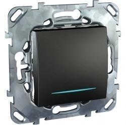 Выключатель одноклавишный кнопочный Schneider Electric UNICA TOP, с подсветкой, скрытый монтаж, графит, MGU5.206.12NZD