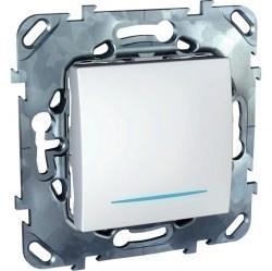 Выключатель 1-клавишный кнопочный Schneider Electric UNICA, с подсветкой, скрытый монтаж, белый, MGU5.206.18NZD
