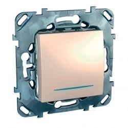 Выключатель 1-клавишный кнопочный Schneider Electric UNICA, с подсветкой, скрытый монтаж, бежевый, MGU5.206.25NZD