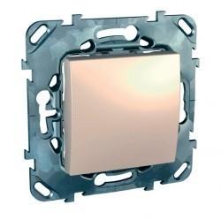 Выключатель 1-клавишный кнопочный Schneider Electric UNICA, скрытый монтаж, бежевый, MGU5.206.25ZD