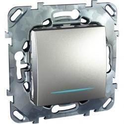 Выключатель 1-клавишный кнопочный Schneider Electric UNICA TOP, с подсветкой, скрытый монтаж, алюминий, MGU5.206.30NZD