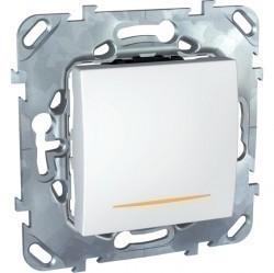 Выключатель 1-клавишный Schneider Electric UNICA, с подсветкой, скрытый монтаж, белый, MGU5.262.18SZD