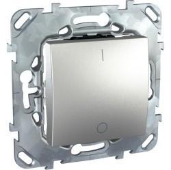 Выключатель 1-клавишный двухполюсный Schneider Electric UNICA TOP, скрытый монтаж, алюминий, MGU5.262.30ZD