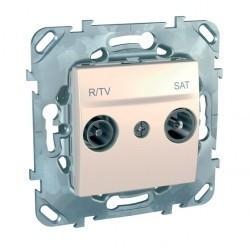Розетка TV-FM-SAT Schneider Electric UNICA, оконечная, бежевый, MGU5.455.25ZD
