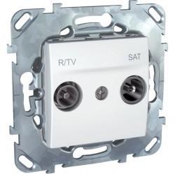 Розетка TV-FM-SAT Schneider Electric UNICA, проходная, белый, MGU5.456.18ZD