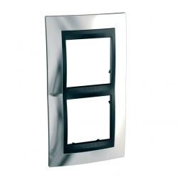 Рамка 2 поста Schneider Electric UNICA TOP, вертикальная, хром глянцевый, MGU66.004V.010