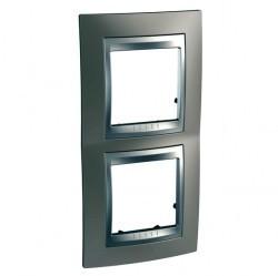 Рамка 2 поста Schneider Electric UNICA TOP, вертикальная, никель, MGU66.004V.039