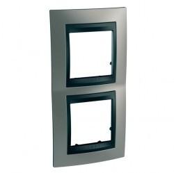 Рамка 2 поста Schneider Electric UNICA TOP, вертикальная, никель, MGU66.004V.239