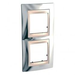 Рамка 2 поста Schneider Electric UNICA ХАМЕЛЕОН, вертикальная, серебристый, MGU66.004V.510