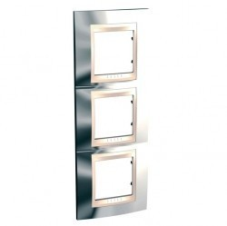 Рамка 3 поста Schneider Electric UNICA ХАМЕЛЕОН, вертикальная, серебристый, MGU66.006V.510