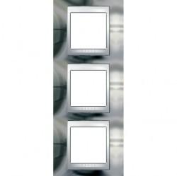 Рамка 3 поста Schneider Electric UNICA ХАМЕЛЕОН, вертикальная, серебристый, MGU66.006V.810