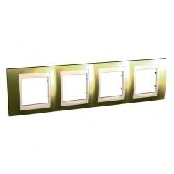 Рамка 4 поста Schneider Electric UNICA ХАМЕЛЕОН, горизонтальная, золотой, MGU66.008.504