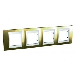 Рамка 4 поста Schneider Electric UNICA ХАМЕЛЕОН, горизонтальная, золотой, MGU66.008.804