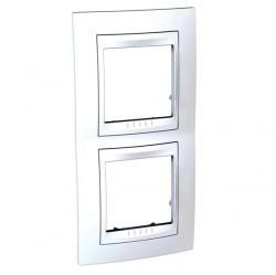 Рамка 2 поста Schneider Electric UNICA ХАМЕЛЕОН, вертикальная, белый, MGU6.004V.18