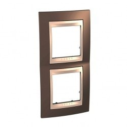 Рамка 2 поста Schneider Electric UNICA ХАМЕЛЕОН, вертикальная, коричневый, MGU6.004V.574