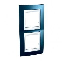 Рамка 2 поста Schneider Electric UNICA ХАМЕЛЕОН, вертикальная, голубой лед, MGU6.004V.854