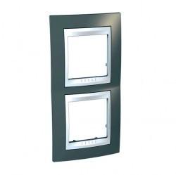 Рамка 2 поста Schneider Electric UNICA ХАМЕЛЕОН, вертикальная, серый, MGU6.004V.865