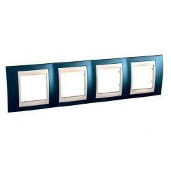 Рамка 4 поста Schneider Electric UNICA ХАМЕЛЕОН, горизонтальная, голубой лед, MGU6.008.554