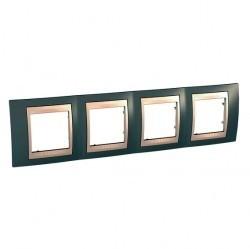 Рамка 4 поста Schneider Electric UNICA ХАМЕЛЕОН, горизонтальная, серый, MGU6.008.565