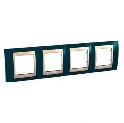 Рамка 4 поста Schneider Electric UNICA ХАМЕЛЕОН, горизонтальная, синий, MGU6.008.573