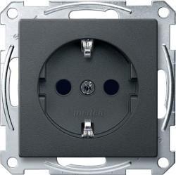 Розетка Schneider Electric SYSTEM M, скрытый монтаж, с заземлением, со шторками, антрацит, MTN2300-0414