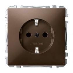 Розетка Schneider Electric SYSTEM DESIGN, скрытый монтаж, с заземлением, со шторками, коричневый, MTN2300-4015