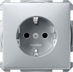 Розетка Schneider Electric SYSTEM DESIGN, скрытый монтаж, с заземлением, со шторками, алюминий, MTN2300-4060