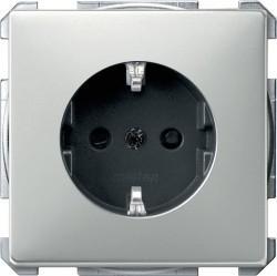 Розетка Schneider Electric SYSTEM DESIGN, скрытый монтаж, с заземлением, со шторками, серебристый, MTN2300-4146