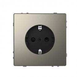 Розетка Schneider Electric D-LIFE, скрытый монтаж, с заземлением, со шторками, никель, MTN2300-6050