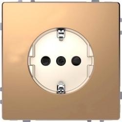 Розетка Schneider Electric D-LIFE, скрытый монтаж, с заземлением, со шторками, шампань, MTN2300-6051