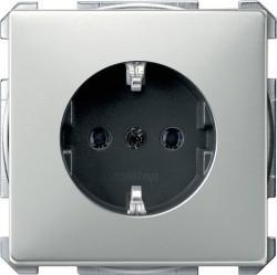 Розетка Schneider Electric SYSTEM DESIGN, скрытый монтаж, с заземлением, стальной, MTN2301-4146