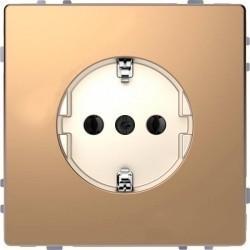 Розетка Schneider Electric D-LIFE, скрытый монтаж, с заземлением, шампань, MTN2301-6051