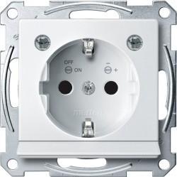 Розетка Schneider Electric SYSTEM M, скрытый монтаж, с заземлением, со шторками, белый, MTN2304-0319