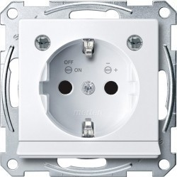 Розетка Schneider Electric SYSTEM M, скрытый монтаж, с заземлением, со шторками, белый, MTN2304-0325