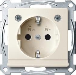 Розетка Schneider Electric SYSTEM M, скрытый монтаж, с заземлением, со шторками, бежевый, MTN2304-0344