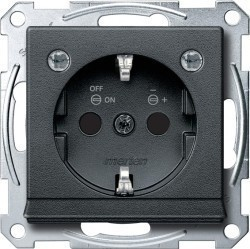 Розетка Schneider Electric SYSTEM M, скрытый монтаж, с заземлением, со шторками, антрацит, MTN2304-0414
