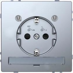 Розетка Schneider Electric D-LIFE, скрытый монтаж, с заземлением, стальной, MTN2304-6036