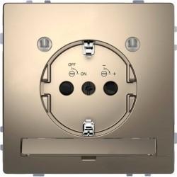 Розетка Schneider Electric D-LIFE, скрытый монтаж, с заземлением, никель, MTN2304-6050