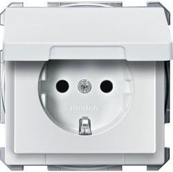 Розетка Schneider Electric SYSTEM DESIGN, скрытый монтаж, с заземлением, с крышкой, со шторками, белый, MTN2310-4019