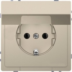 Розетка Schneider Electric D-LIFE, скрытый монтаж, с заземлением, с крышкой, песочный, MTN2310-6033
