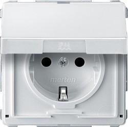 Розетка Schneider Electric AQUADESIGN IP44, скрытый монтаж, с заземлением, с крышкой, со шторками, белый, MTN2310-7219