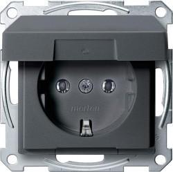 Розетка Schneider Electric SYSTEM DESIGN, скрытый монтаж, с заземлением, с крышкой, антрацит, MTN2311-0414