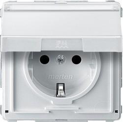 Розетка Schneider Electric AQUADESIGN IP44, скрытый монтаж, с заземлением, с крышкой, со шторками, белый, MTN2312-7219