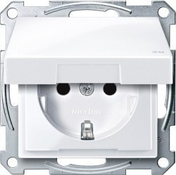 Розетка Schneider Electric SYSTEM M, скрытый монтаж, с заземлением, с крышкой, со шторками, белый, MTN2314-0325