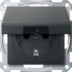 Розетка Schneider Electric SYSTEM M, скрытый монтаж, с заземлением, с крышкой, со шторками, антрацит, MTN2314-0414
