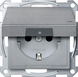 Розетка Schneider Electric SYSTEM M, скрытый монтаж, с заземлением, с крышкой, со шторками, алюминий, MTN2314-0460