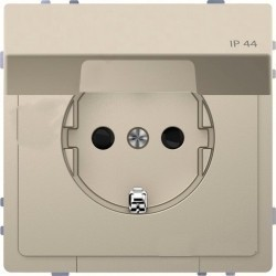 Розетка Schneider Electric D-LIFE, скрытый монтаж, с заземлением, с крышкой, песочный, MTN2314-6033