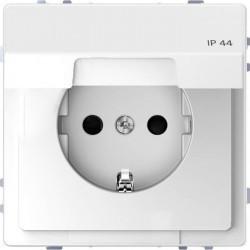 Розетка Schneider Electric D-LIFE, скрытый монтаж, с заземлением, с крышкой, белый, MTN2314-6035