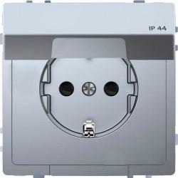 Розетка Schneider Electric D-LIFE, скрытый монтаж, с заземлением, с крышкой, стальной, MTN2314-6036