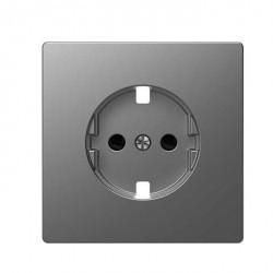 Накладка на розетку Schneider Electric MERTEN D-LIFE, с заземлением, со шторками, нержавеющая сталь, MTN2330-6036